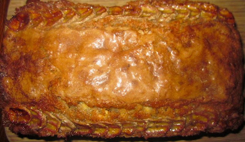 ... Banana Bread with White Chocolate Chips & Caramelized Banana Shingles