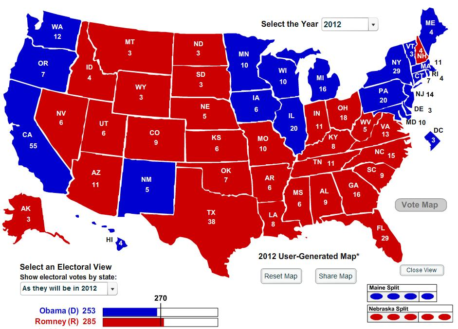 electoral college map 2010 - photo #18