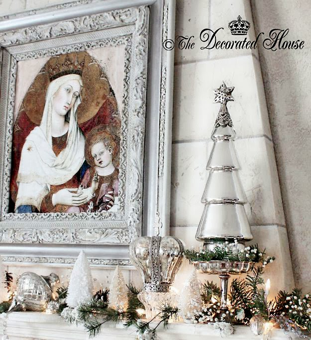 The Decorated House ~ Chrismtas Decor Decorations White with Mercury Glass and Silver 2013