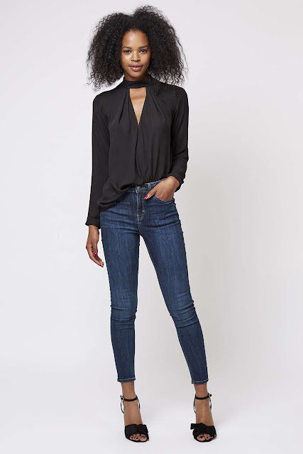 black tie neck blouse, black neck top,