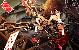 Cool Guy Red Eye Chains Card Anime HD Wallpaper Desktop PC Background 1616