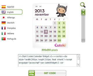 Cara Memasang Widget Kalender Unik dan Lucu Cuteki di Blog