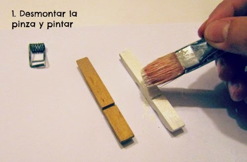 Pintando una pinza desmontada con pintura acrílica
