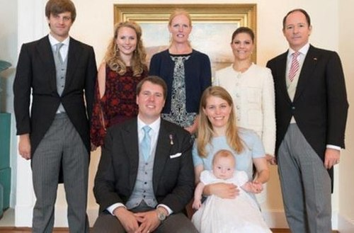 Prince Ernest Augustus V of Hanover  (step son of Princess Caroline) is also the god father of the little Princess.