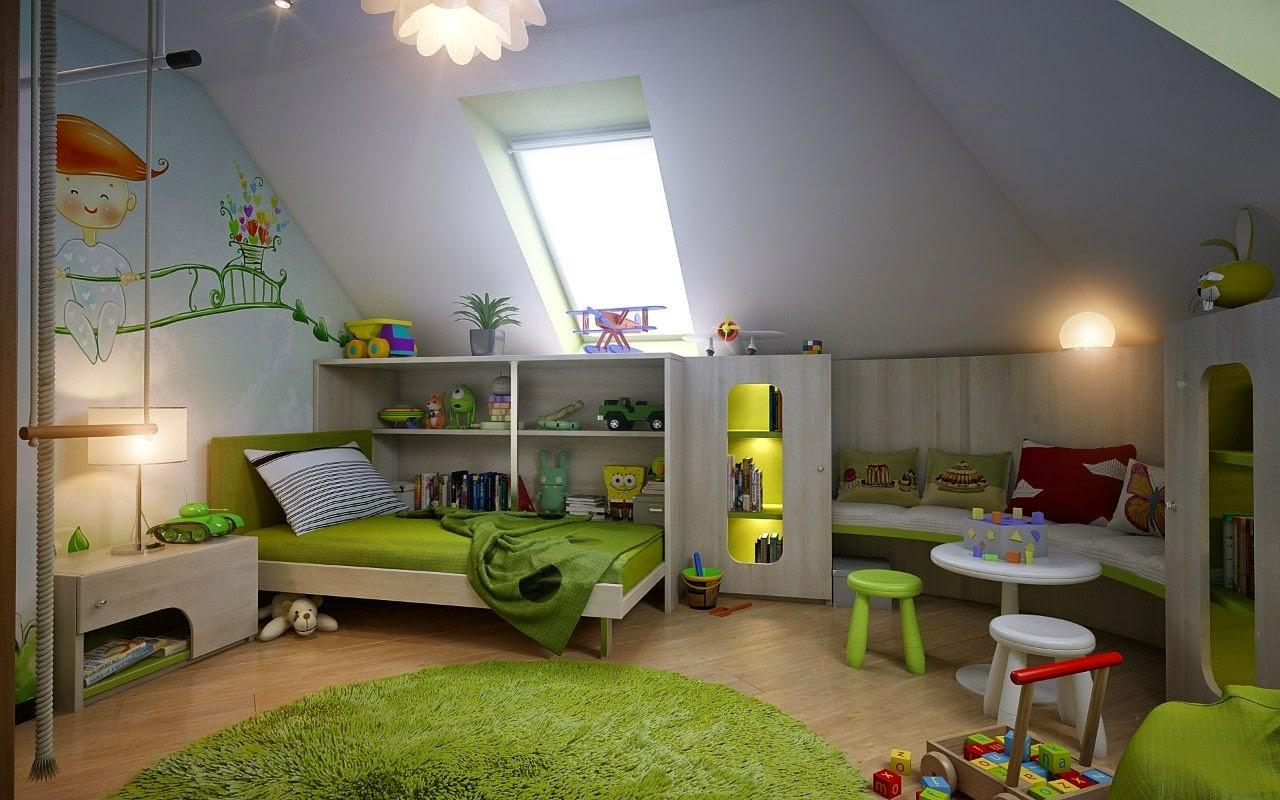 Desain Rumah Tebaru Kamar Tidur Anak Perempuan Minimalis Warna Hijau