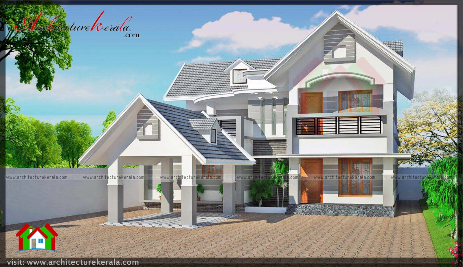 Four bedroom contemporary house plan and elevation for Four bedroom kerala house plans