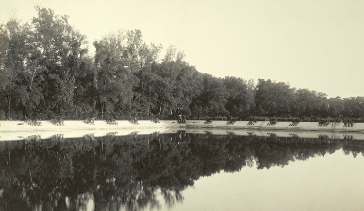 A view across the Manash-Sarovar Tank towards the Dilkusha Gardens - Burdwan (Bardhaman), Bengal, 1904