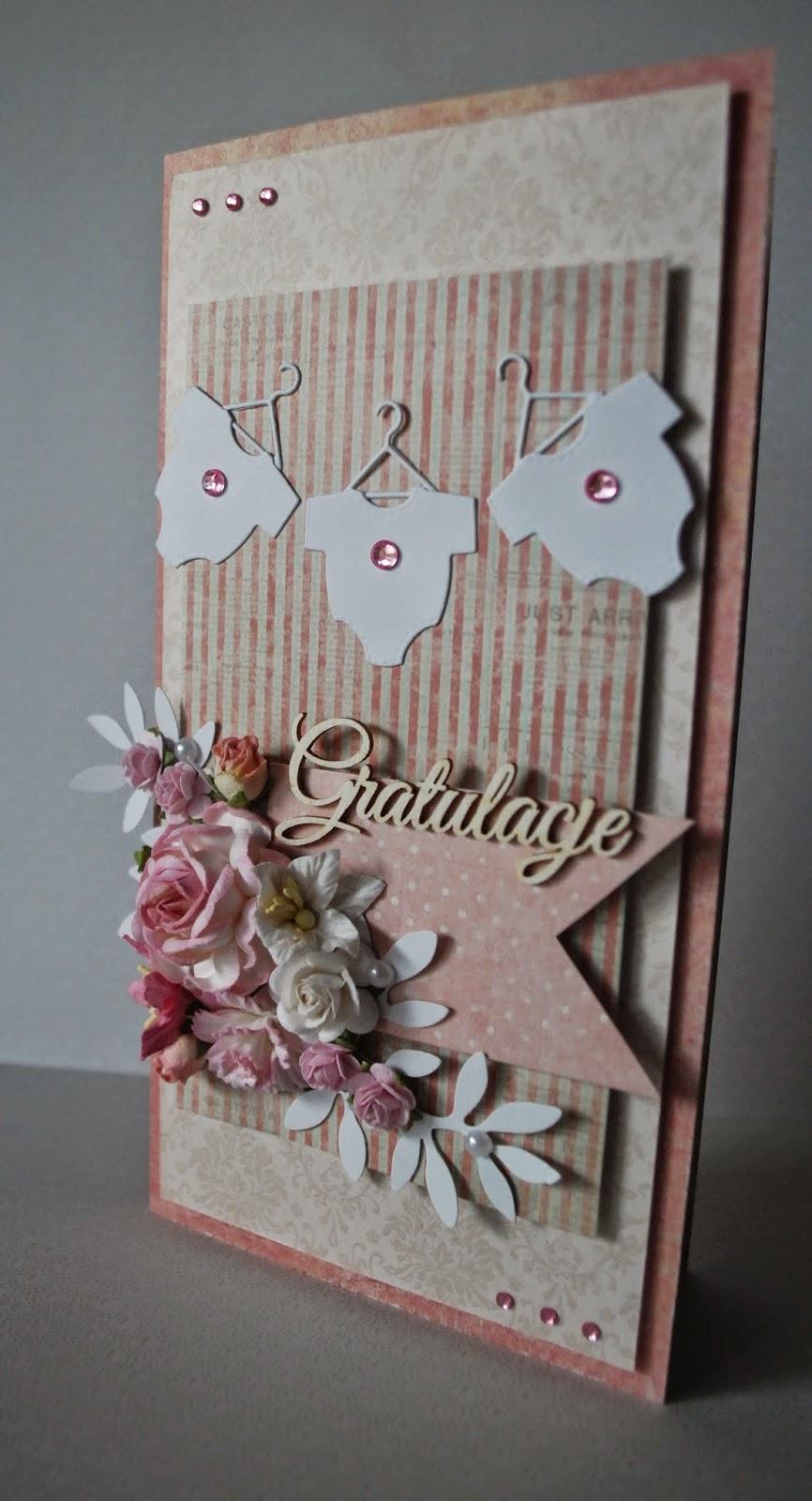 kartka gratulacje dla rodziców dziewczynki, różowe kolory, gratulacje