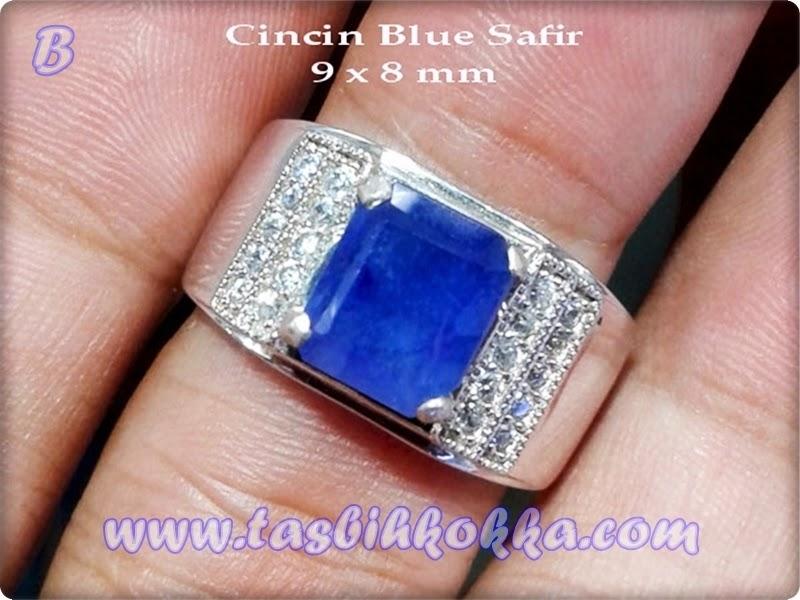 Cincin Blue Safir Afrika Perak