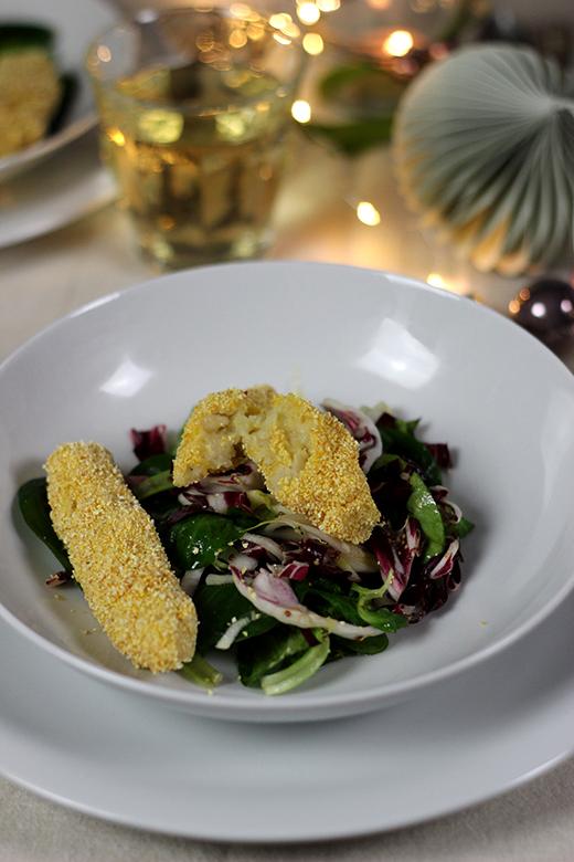 Vegetarisches Weihnachtsmenü, Vorspeise: Wintersalat mit Orangenvinaigrette und Selleriekroketten, Holunderweg18