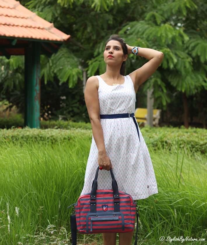 Anchor Print Dress, Affordable Dress, Stripes Bag, Canvas Bag,