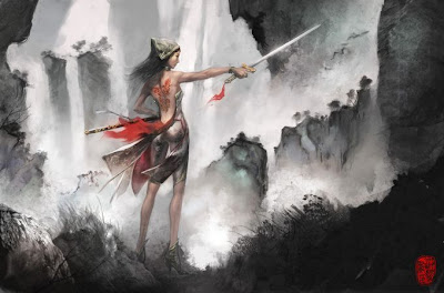 sexy chinese painting of female warrior babe