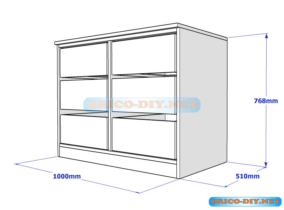 Como hacer comoda de melamina color blanco con cajones u for Planos closet melamina pdf