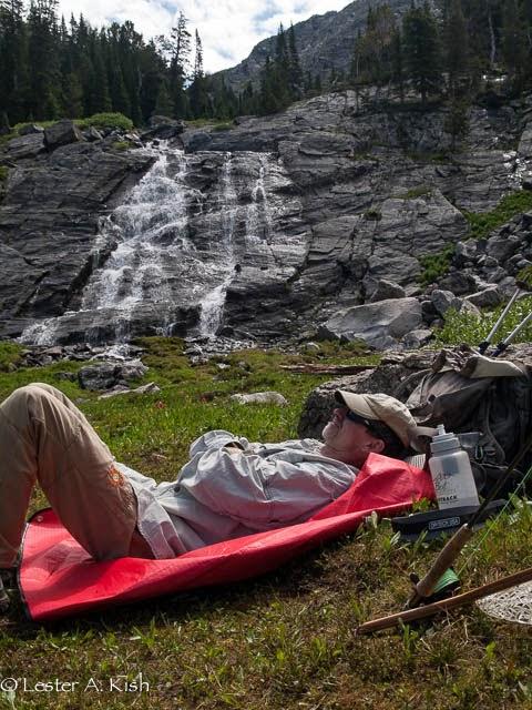 Taking a nap a Pine Creek Lake, Montana