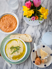 sun dried tomato feta dip and white bean, lemon and rosemary dip