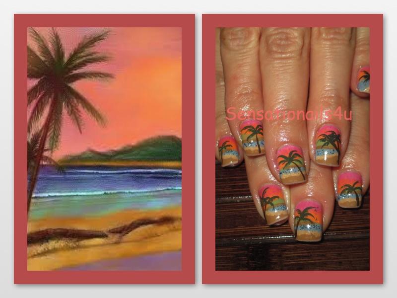 Nails Of The Week Beach Scene Nail Art Design