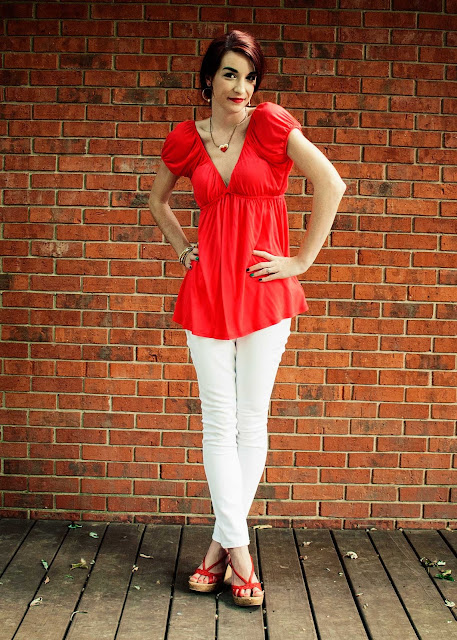 white jeans cutout back shirt wedges