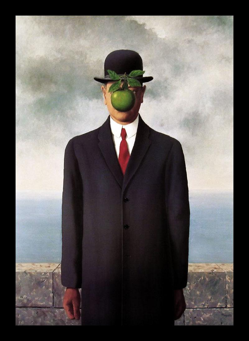O mago alex ren magritte le fils de l homme - Tableau chapeau melon pomme verte ...