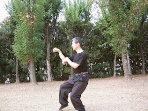 Our Suparinpe ends in Neko-Ashi-Dachi stance.