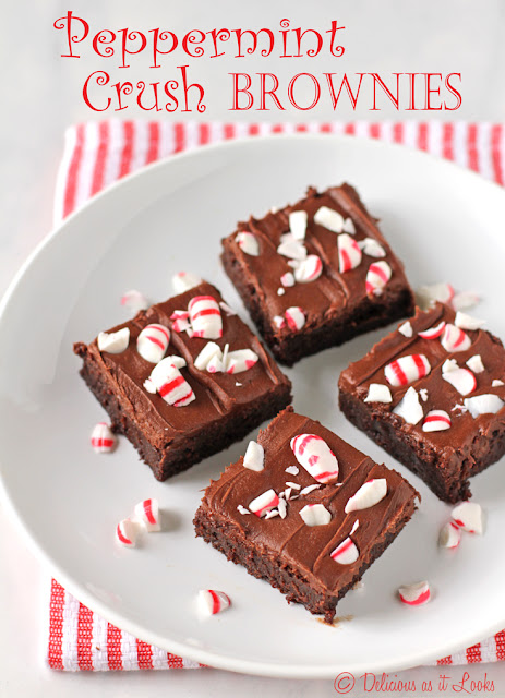 Peppermint Crush Brownies {Gluten-Free, Gum-Free}  /  Delicious as it Looks