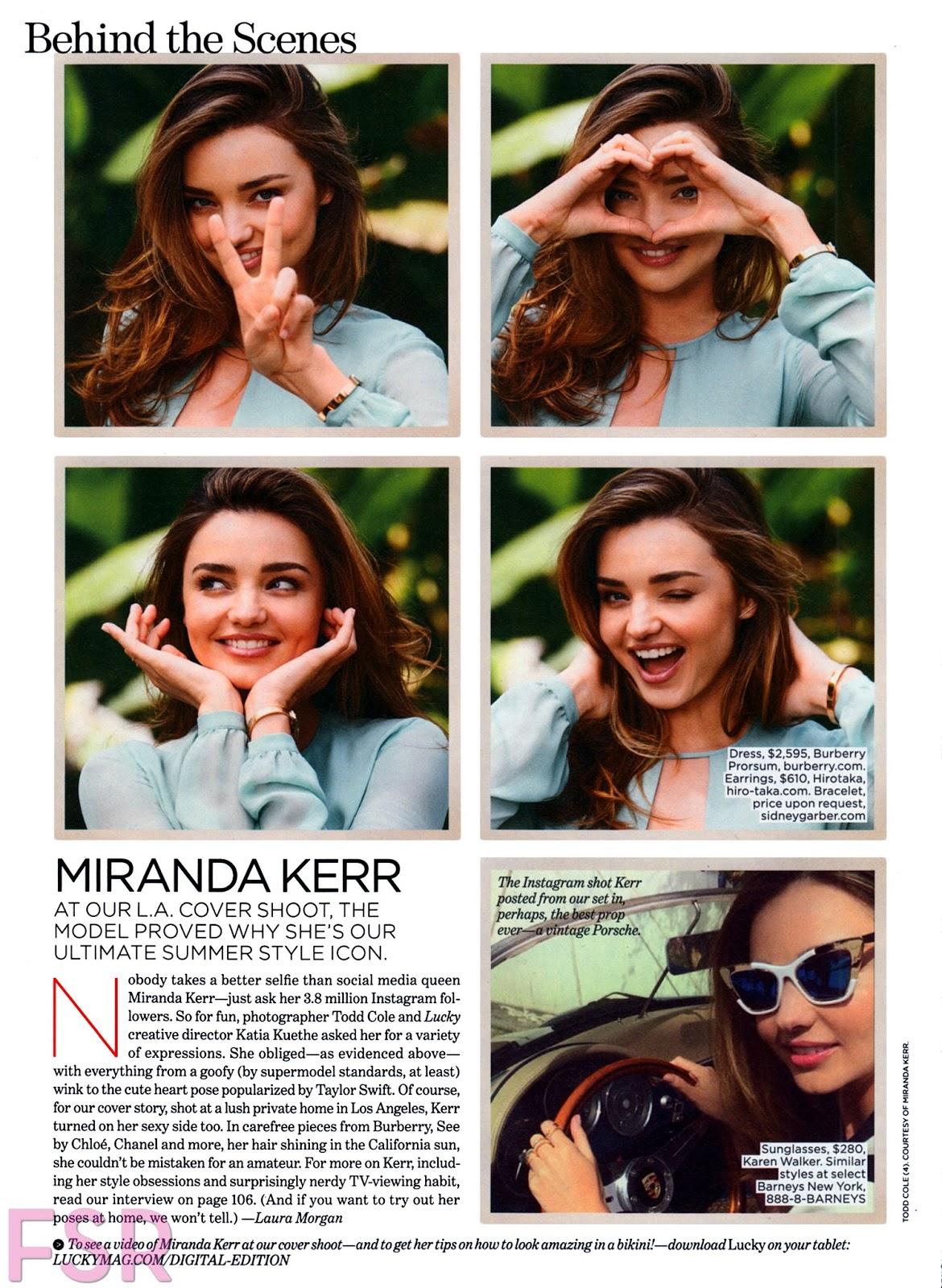 Miranda Kerr in a summery fashion shoot for Lucky Magazine June/July 2014