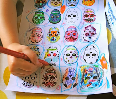 Day of the dead Halloween colouring sheet | Make do mum