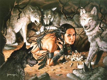 ragazza con lupi