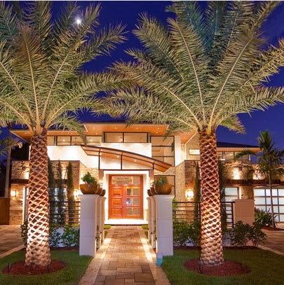 hermosa fachada de casa de lujo con palmeras