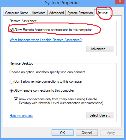 Allow Remote Assistance Connections
