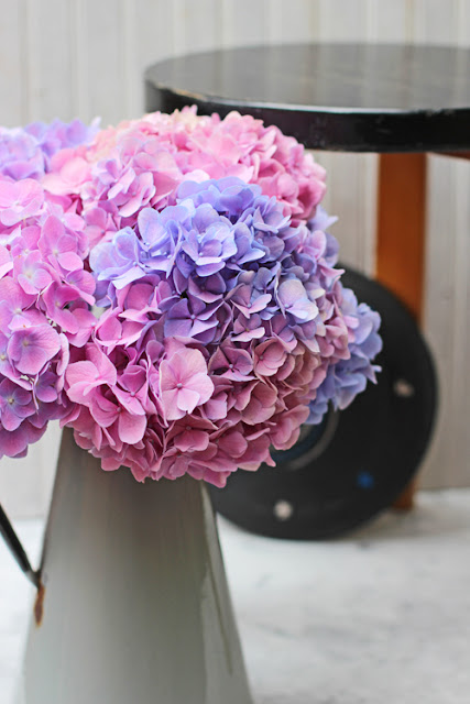 Pink and Purple Hydrangea in Vintage Grey Enamelled Jug