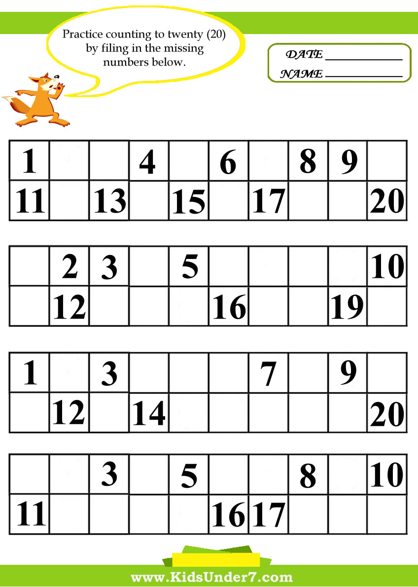 Kids Under 7: Fill in the Missing Numbers Worksheets