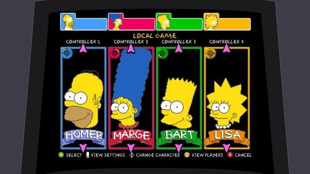 Tela de escolher personagens The Simpsons