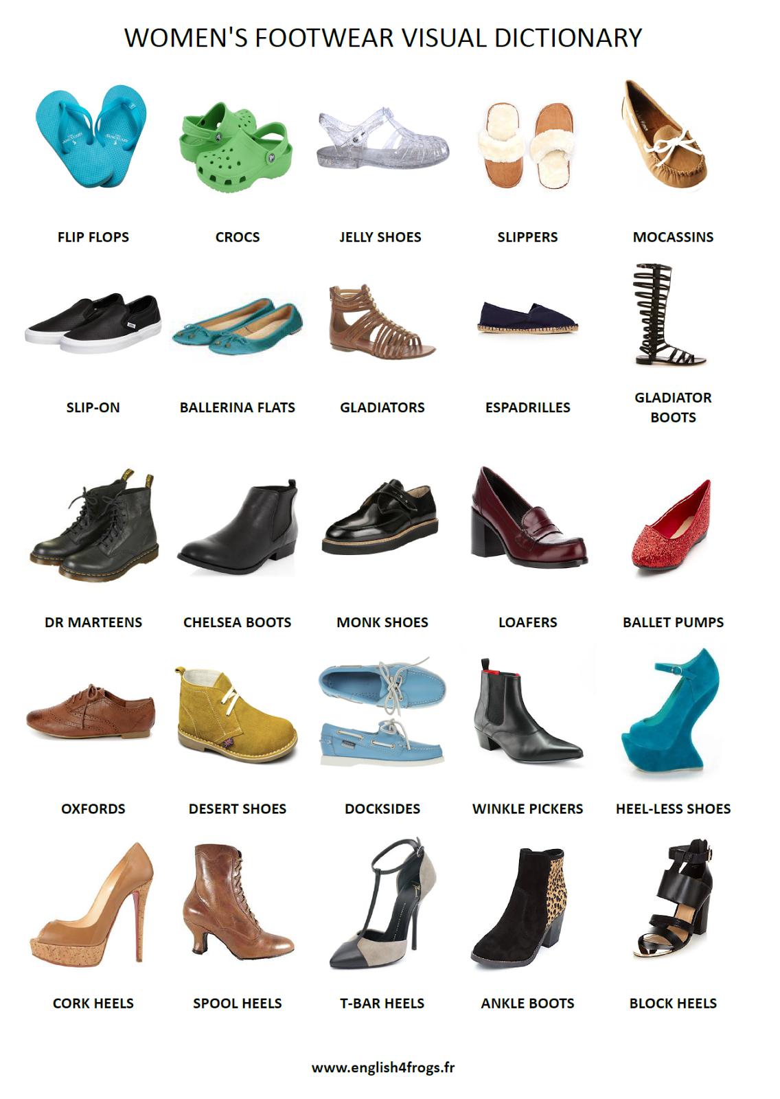 parler anglais rapidement fiche de vocabulaire n 19 les chaussures pour femmes en anglais. Black Bedroom Furniture Sets. Home Design Ideas