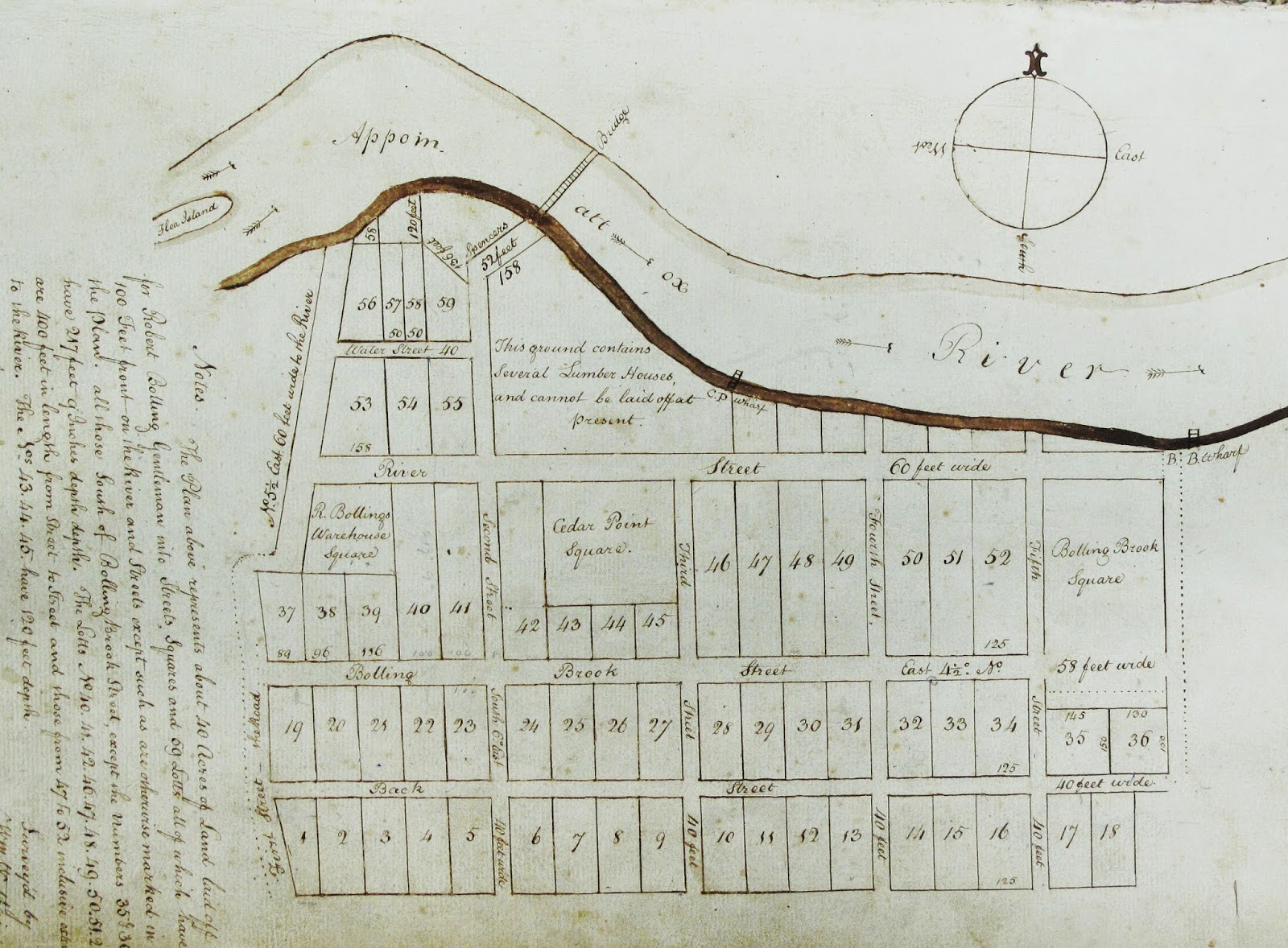 copy of the plat of new blandford before 1784 from the city of petersburg clerk s office