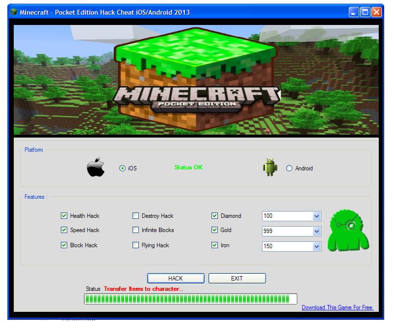 Читы для Minecraft Pocket Edition 0.9.0, 0.9.1, 0.9.2, 0.9 ...