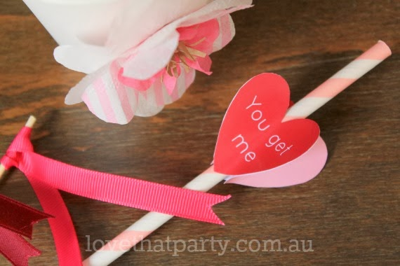 "Free Printable Valentine's Day Drink Stirrer: ""You get me all stirred up!"" by Love That Party. www.lovethatparty.com.au Perfect for a Valentine's Day Cocktail Party!"