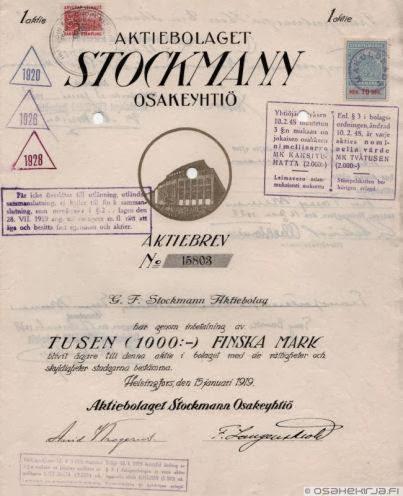 Stockmann oy:n osakekirja huutokaupattavana