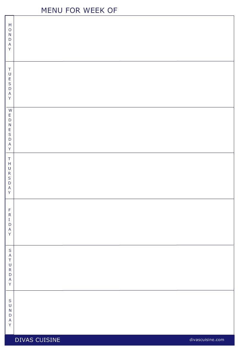 FREE printable menu and shopping list templates