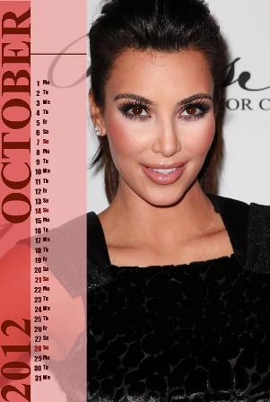 Hollywood Actress Kim Kardashian New Year Desktop Calendar 2012 ...