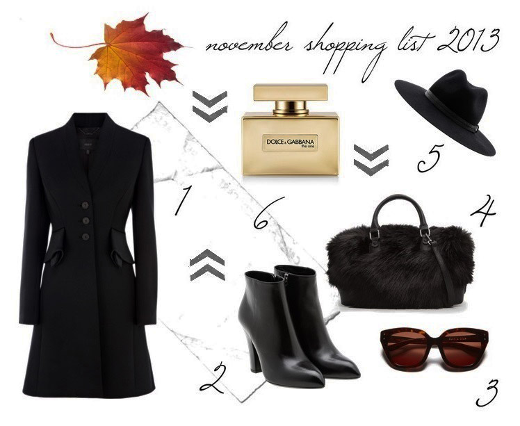 november, shopping list, elegance, simplicity