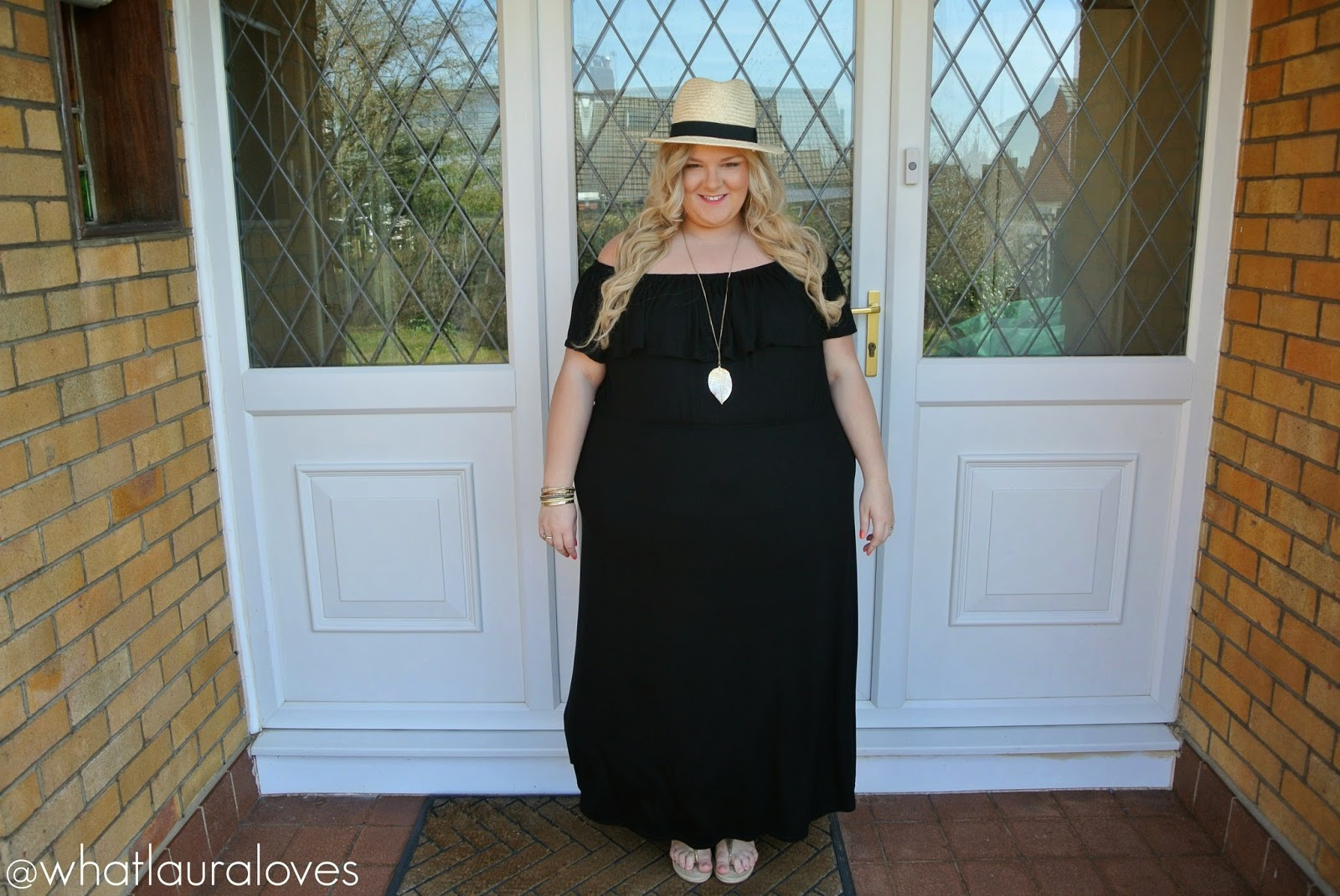 Plus Size Bardot Maxi Dress Straw Fedora Michael Kors Sandals