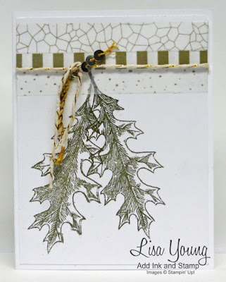 Vintage Leaves stamp set by Stampin' Up. Gold leaves on white background. Handmade card by Lisa Young, Add Ink and Stamp