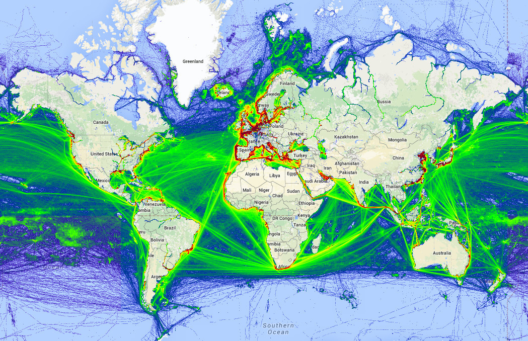 Maritime traffic density around the World
