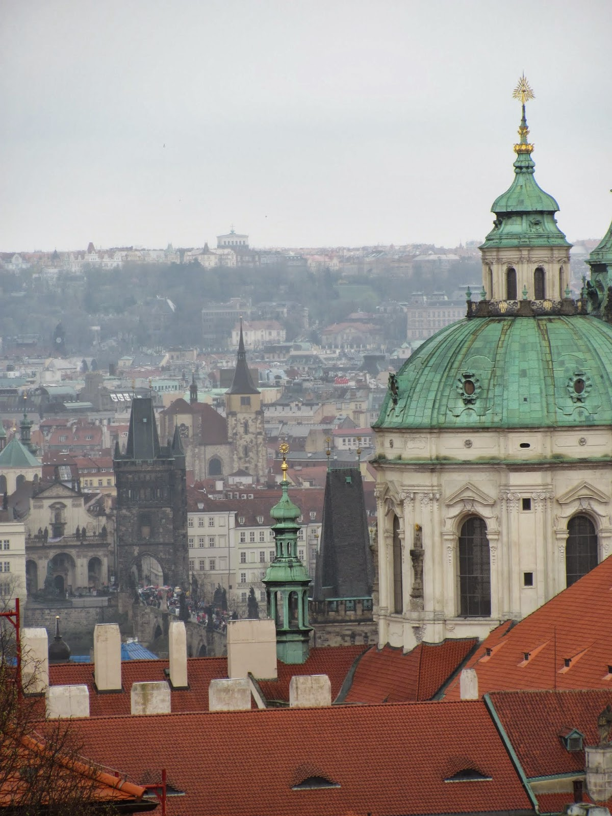 Charles Bridge and Red Roofs of Prague