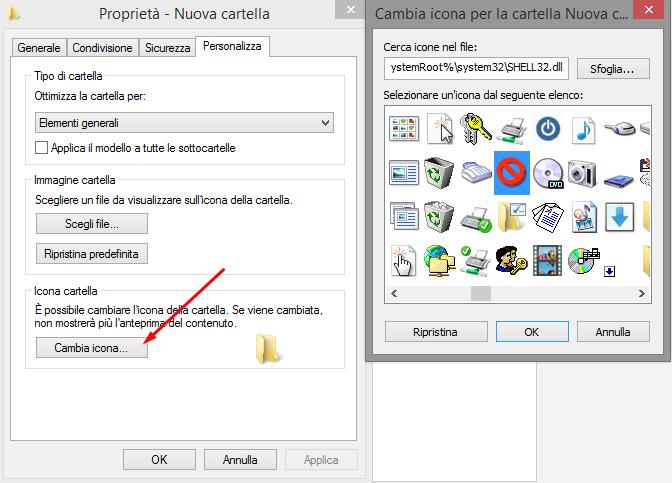 modificare l'icone delle cartella desktop