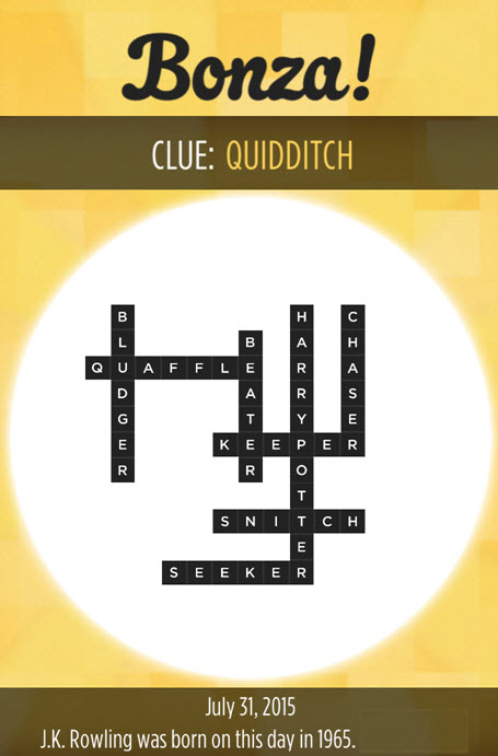 Bonza Daily Word Puzzle Clue Quidditch Answers July 31, 2015