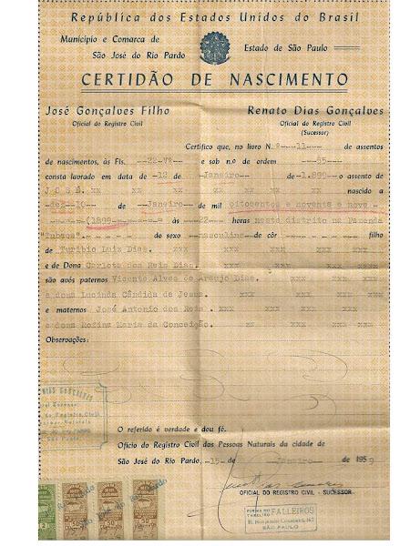 Certidão de nascimento José Luiz Dias