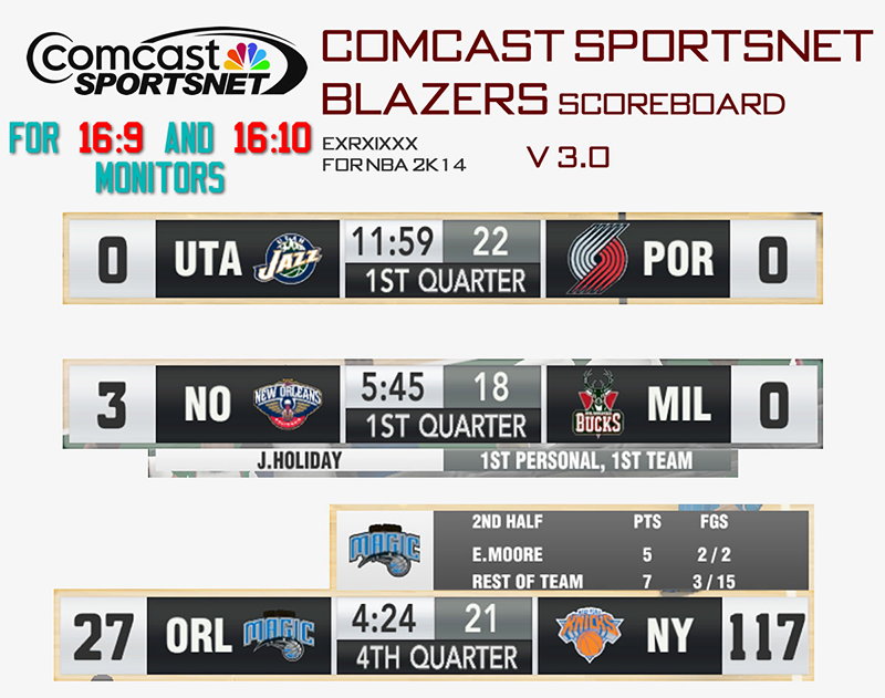 NBA 2K14 Comcast SportsNet Scoreboard Mod