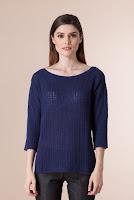 Pulover bleumarin din tricot 1F-331 (Ama Fashion)