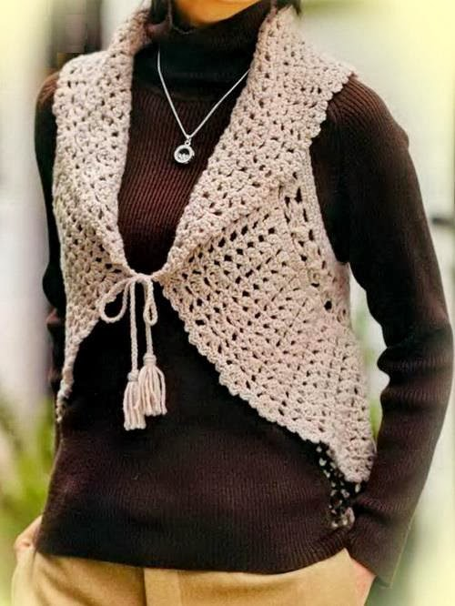 Crochet Sweaters: Crochet Vest Pattern For Women - Circle Vest